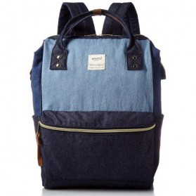 Tas Ransel Anello Denim Cloth Backpack Campus Rucksack - Blue/Gray
