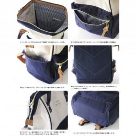 Tas Ransel Anello Denim Cloth Backpack Campus Rucksack - Blue/Gray - 5