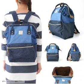 Tas Ransel Anello Denim Cloth Backpack Campus Rucksack - Blue/Gray - 6