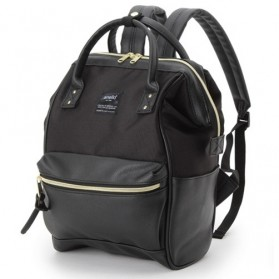 Anello Tas Ransel Kulit + Canvas Size S - Black