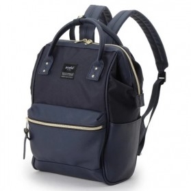 Anello Tas Ransel Kulit + Canvas Size S - Blue