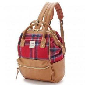 Tas Ransel Laptop / Backpack Notebook - Anello Tas Ransel Kulit + Cordura Size S - Beige