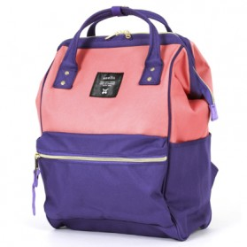 Anello Tas Ransel Oxford 600D Zipper Back Size L - Purple/Pink