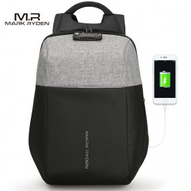 Mark Ryden Tas Ransel Anti Maling dengan USB Charger Port - MR6768 - Gray/Black