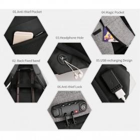 Mark Ryden Tas Ransel Anti Maling dengan USB Charger Port - MR6768 - Gray/Black - 3