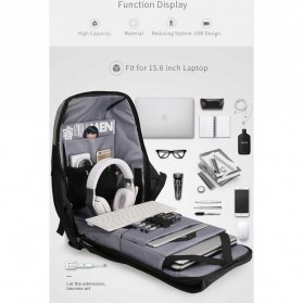 Mark Ryden Tas Ransel Anti Maling dengan USB Charger Port - MR6768 - Gray/Black - 4