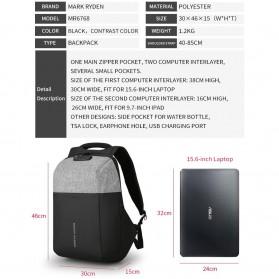 Mark Ryden Tas Ransel Anti Maling dengan USB Charger Port - MR6768 - Gray/Black - 7