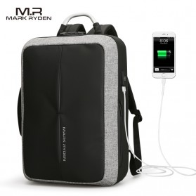Mark Ryden Tas Ransel Anti Maling dengan USB Charger Port - MR6832 - Gray/Black