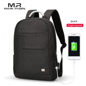Mark Ryden Tas Ransel Single Layer dengan USB Charger Port - MR6320 - Black