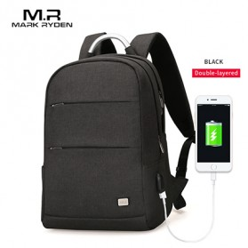 Mark Ryden Tas Ransel Double Layer dengan USB Charger Port - MR6320 - Black