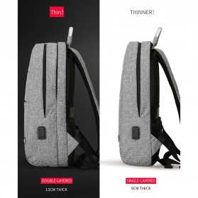 Mark Ryden Tas Ransel Double Layer dengan USB Charger Port - MR6320 - Black - 2