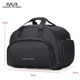 Mark Ryden Tas Travel Duffle Bag Large Capacity Waterproof dengan USB Charger Port - MR7091 - Black - 6