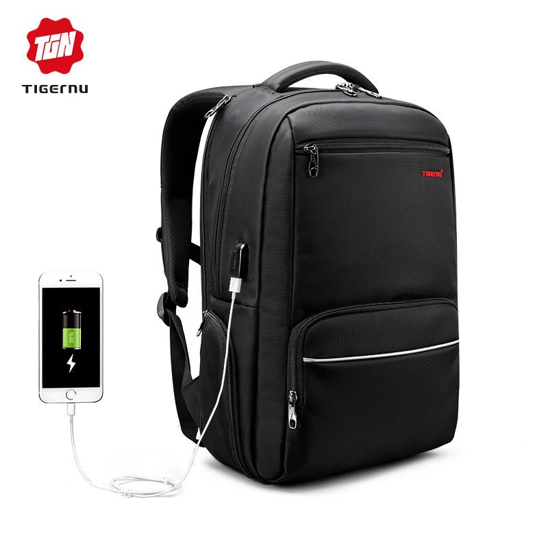 faa744c010 ... Tigernu Tas Ransel Laptop dengan USB Charger Port - T-B3319 - Black - 1  ...