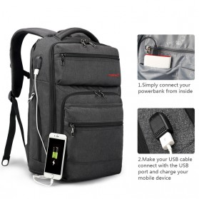 Tigernu Tas Ransel Laptop Bisnis dengan USB Charger Port - T-B3242 - Black/Gray - 3