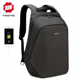 TIGERNU Tas Ransel Backpack Anti Maling dengan USB Port - T-B3351 - Black - 2