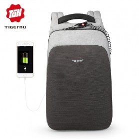 Laptop / Notebook - TIGERNU Tas Ransel Backpack Anti Maling dengan USB Port - T-B3351 - Gray