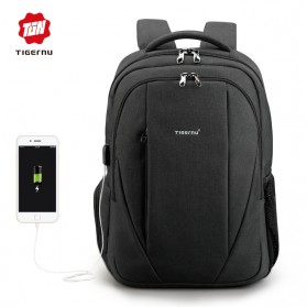 Laptop / Notebook - TIGERNU Tas Ransel Backpack Anti Maling dengan USB Port - T-B3399 - Black