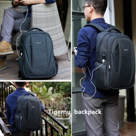 TIGERNU Tas Ransel Backpack Anti Maling dengan USB Port - T-B3399 - Gray - 3