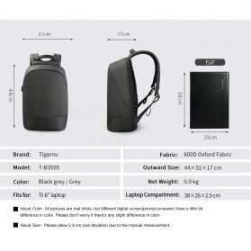 TIGERNU Tas Ransel Backpack dengan USB Port - T-B3595 - Black - 10