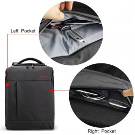 TIGERNU Tas Ransel Laptop dengan USB Charger Port - T-B3269 - Black - 5