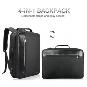 TIGERNU Tas Ransel Backpack Bisnis 4 in 1 Style with USB Charger Port - T-B3639 - Black