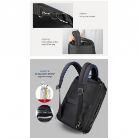 TIGERNU Tas Ransel Backpack Bisnis 4 in 1 Style with USB Charger Port - T-B3639 - Black - 7