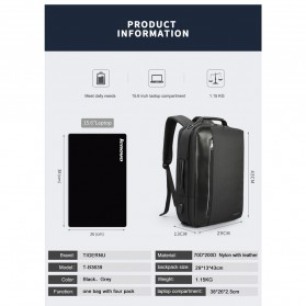 TIGERNU Tas Ransel Backpack Bisnis 4 in 1 Style with USB Charger Port - T-B3639 - Black - 9