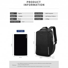 TIGERNU Tas Ransel Backpack RFID Protection dengan TSA Lock - T-B3655 - Black - 10