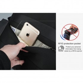 TIGERNU Tas Ransel Backpack RFID Protection dengan TSA Lock - T-B3655 - Black - 6