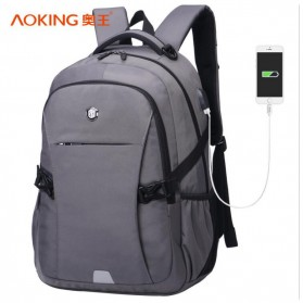 Notebook Bag / Tas Laptop - Aoking Tas Ransel Laptop 35L dengan USB Charger - SN77052-2B - Gray