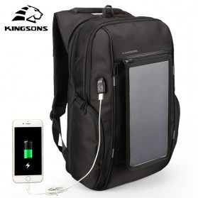 Kingsons Tas Ransel Solar Panel dengan USB Port - KS3140W-I - Black