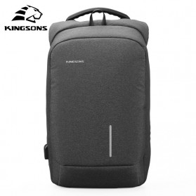 Kingsons Tas Ransel Backpack Anti Maling Laptop Slot 15 Inch with USB Port - KS3149W - Dark Gray
