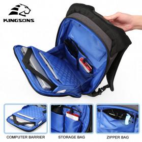 Kingsons Tas Ransel Backpack Anti Maling Laptop Slot 15 Inch with USB Port - KS3149W - Dark Gray - 3