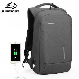 Kingsons Tas Ransel Backpack Anti Maling Laptop Slot 15 Inch with USB Port - KS3149W - Dark Gray - 4