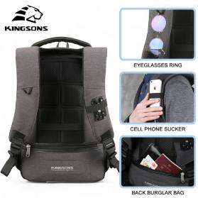 Kingsons Tas Ransel Backpack Anti Maling Laptop Slot 15 Inch with USB Port - KS3149W - Dark Gray - 5