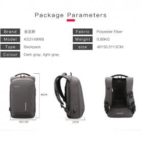 Kingsons Tas Ransel Backpack Anti Maling Laptop Slot 15 Inch with USB Port - KS3149W - Dark Gray - 7