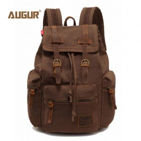 Augur Tas Ransel Canvas School Backpack (backup) - Coffee