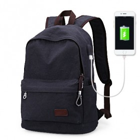 MUZEE Tas Ransel Backpack Casual dengan USB Port - ME-0710 (backup) - Black Blue