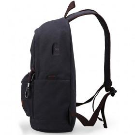 MUZEE Tas Ransel Backpack Casual dengan USB Port - ME-0710 (backup) - Gray - 3