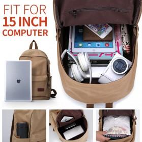MUZEE Tas Ransel Backpack Casual dengan USB Port - ME-0710 (backup) - Gray - 5