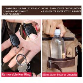 MUZEE Tas Ransel Backpack Travel dengan USB Port - ME-1181 - Gray - 8