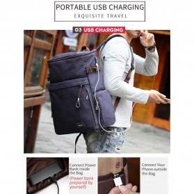 MUZEE Tas Ransel Backpack Travel dengan USB Port - ME-1181 - Coffee - 3