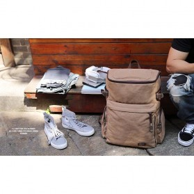 MUZEE Tas Ransel Backpack Travel dengan USB Port - ME-1181 - Coffee - 4