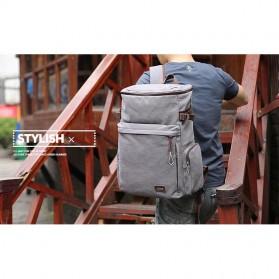 MUZEE Tas Ransel Backpack Travel dengan USB Port - ME-1181 - Coffee - 6