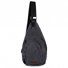 Tas Selempang Kasual Bahan Canvas - Black - 3