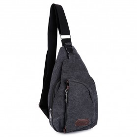 Tas Selempang Kasual Bahan Canvas - Black - 4