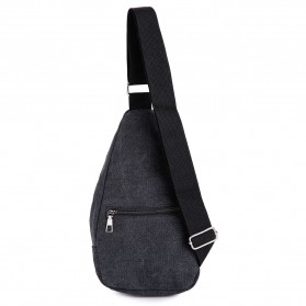 Tas Selempang Kasual Bahan Canvas - Black - 5
