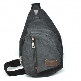 Tas Selempang Kasual Bahan Canvas - Black - 7