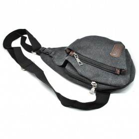 Tas Selempang Kasual Bahan Canvas - Black - 8
