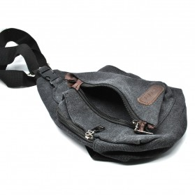 Tas Selempang Kasual Bahan Canvas - Black - 9